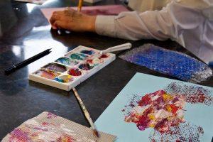 Students making art