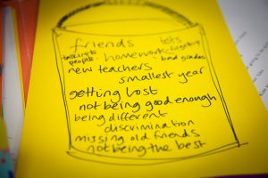 School worries list - getting lost, smallest year, bad grades, missing old friends
